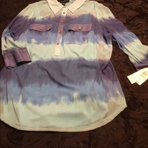 Inc 2x turquoise ombré sheer blouse w cami BNWT